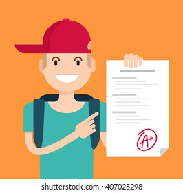 Portrait of teenager showing perfect test results with A plus. A paper with the top university grade. Vector flat  illustration. Eps 8