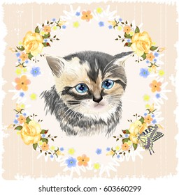 Portrait of three-colored kitten and Butterfly.  House pet. Vintage ornamental background. Floral frame with roses.