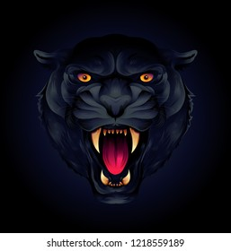 Portrait of a tiger head or black panther on a black background