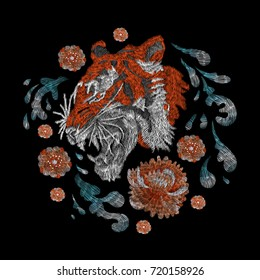 portrait of a tiger. traditional stylish fashionable embroidered embroidery on a black background. sketch for printing on fabric, bag, clothes, accessories and design. trend vector