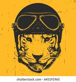 Portrait of Tiger with Vintage Helmet. Vector