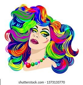 Portrait of a transvestite in bright make-up and with multi-colored hair