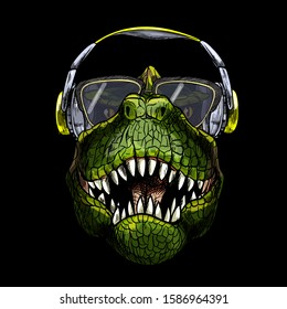 Portrait of T-Rex in sunglasses and headphones, full color sketch, hand drawn vector illustration