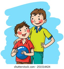 Portrait of two brothers boys. Color. Great illustration for children school book, magazine,  advertising and more. VECTOR.
