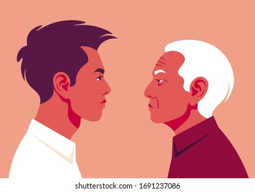 Portrait of a two profiles young guy and old man. Side view. Age-related changes in the face. Vector illustration in flat style