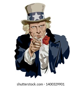 Portrait of Uncle Sam, historical character and famous symbol of the United States. He addresses himself to the American citizen so that he serves his homeland, pointing at him with an authoritarian a