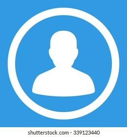 Portrait vector icon. Style is flat rounded symbol, white color, rounded angles, blue background.