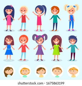 Portrait view of smiling young people, kids set of boys and girls in colorful clothes isolated on blue background, children in flat design style vector