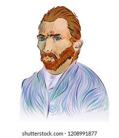 Portrait of Vincent van Gogh. Famous Dutch post-impressionist painter. Perfect for home decor such as posters, wall art, tote bag, t-shirt print, sticker, post card.