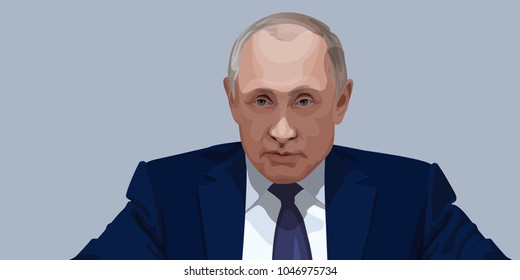 Portrait of Vladimir Putin. The President of Russian Federation Vladimir Putin vector illustration. Front view portrait.