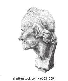Portrait of Voltaire. Digital pointillism. Voltaire's plaster head in profile. Gypsum sculpture of the philosopher Voltaire