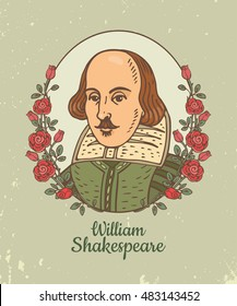 Portrait of William Shakespeare. Vector color hand drawn doodle illustration of William Shakespeare in frame with roses.