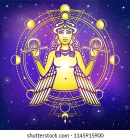 Portrait of the winged goddess Ishtar. Sacred geometry, mystical circle, phases of the moon. Gold imitation. Background - the night star sky. Print, poster, t-shirt, card. Vector illustration.