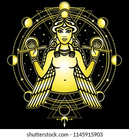 Portrait of the winged goddess Ishtar. Sacred geometry, mystical circle, phases of the moon. Gold imitation. Vector illustration isolated on a black background. Print, poster, t-shirt, card.