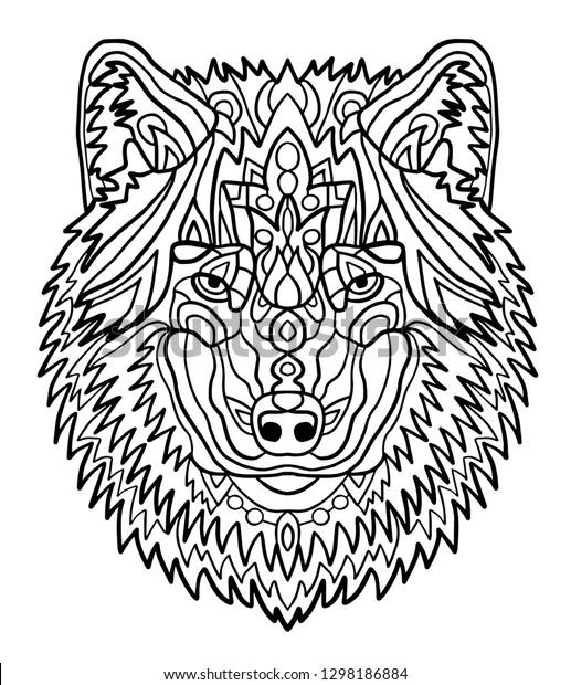 Portrait Wolf Hand Drawn Patterns Coloring | Animals ...