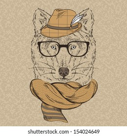 Portrait of Wolf Hipster in Hat, Knitted Scarf and Glasses
