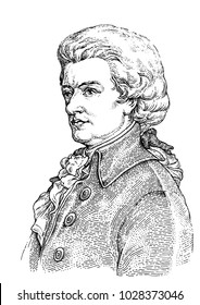 The portrait of Wolfgang Amadeus Mozart drawn in the stipple technique.