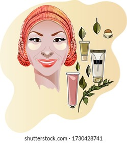 Portrait of  woman with  collagen eye patches and in towel. Graceful cosmetic bottles masks. Sketch vector graphic color illustration on white background.