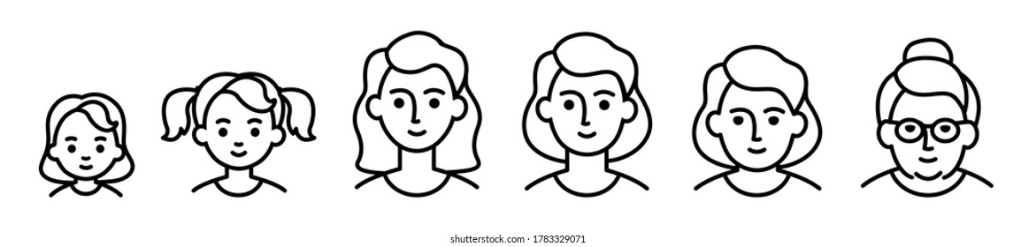 Portrait of woman at different ages, preschooler kid 1-5 years old, primary school age 6-9, senior school age 10-14, teenager 15-18, young man 19-30, average 40-50, elderly 60-80. black line icon