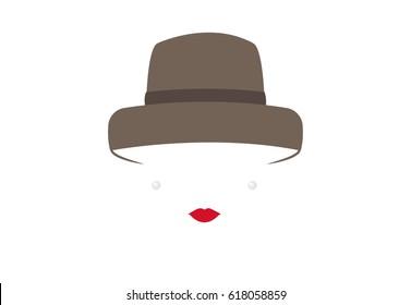 portrait retrò woman, diva with hat and pearls, minimal Audrey vector illustration