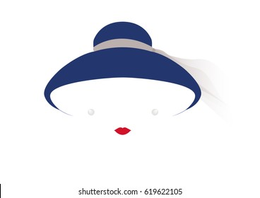 portrait retrò woman, diva with hat and pearls, minimal Audrey vector illustration