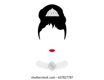 portrait retrò woman, diva with Pearl jewelry, minimal Audrey vector illustration