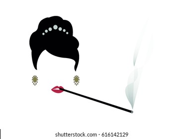 portrait retrò woman, diva who smokes his cigarette holder, vector illustration
