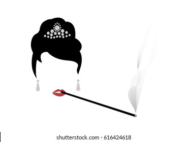 portrait retrò woman, diva who smokes his cigarette holder, minimal Audrey vector illustration