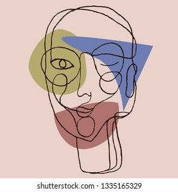 Portrait a woman with glasses in modern abstract style. Hand drawn vector illustration for your contemporary fashion design.