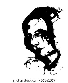 Portrait of a woman with ink splats vector illustration