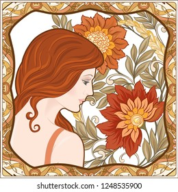 Portrait of a woman with long hair in floral frame in old, retro, art nouveau style. Colored vector illustration. In vintage beige and orange colors.