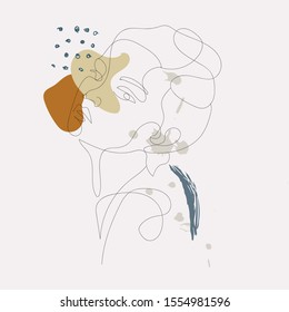 Portrait of woman in minimal trendy style. One line continuous drawing. Contemporary abstract design for women's day card, poster, banner, textile print, social media concept, flyer.