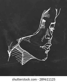 Portrait of a Woman on chalkboard. Vector sketch.