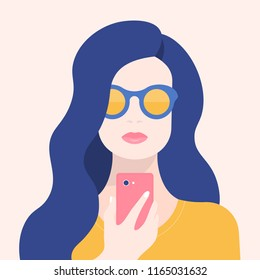 Portrait of a woman with a phone. Addiction on the smartphone and the Internet. Social networks. Vector Flat Illustration