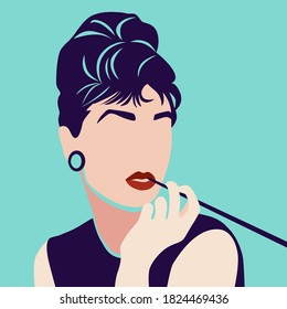Portrait of woman vector illustration minimalism