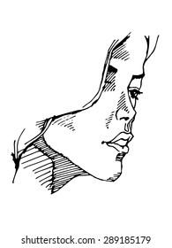 Portrait of a Woman. Vector sketch.
