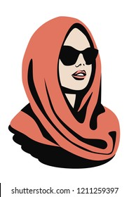 Portrait of a woman wearing butterfly sunglasses and head covered by headscarf. Fashion sketch. Vector image. Eps 10.