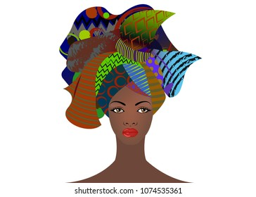 portrait of the young African woman with a colorful turban. Wrap Afro fashion, Ankara, Kente, kitenge, African women dresses. Nigerian style, Ghanaian fashion with grunge texture. Vector isolated or white
