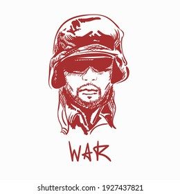 Portrait of young army soldier man wearing glasses. Text lettering War. Hand drawn illustration vector