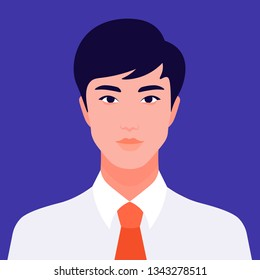 Portrait of a young Asian man. The face of a foreign student. Diversity. Avatar Vector flat illustration