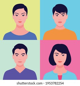 Portrait of young asian people in flat style