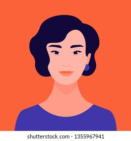 Portrait of a young Asian woman. The face of a foreign student. Diversity. Avatar. Vector flat illustration