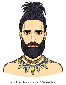 portrait of the young attractive bearded man with a stylish hairstyle. Vector illustration isolated on a white background.  Print, poster, t-shirt, card.