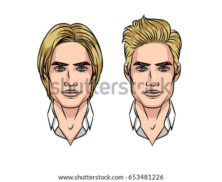 Portrait Young Attractive Guy Before After Stock Vector Royalty