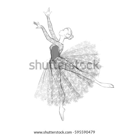 b3a19333f Portrait Young Ballerina Lacy Dress Vector Stock Vector (Royalty ...