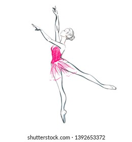 The Portrait of a Young Ballerina in a Pink Tutu-Dress, Vector Illustration of a Ballet Dancer Girl. Free Hand Draw. Realistic Freehand Drawing. Classical Dance. Monochrome Sketch of a Dancing Woman.