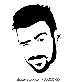 Portrait of young bearded charming man winking at camera. Easy editable layered vector illustration.