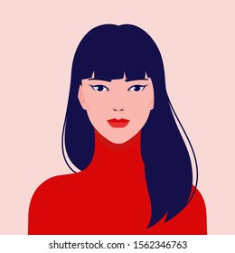 Portrait of a young beautiful, Asian fashion woman, vector flat illustration. Asian cute girl avatar.