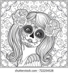 Portrait of a young beautiful girl in Halloween or Day of the Death