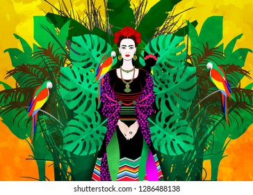 Portrait of the young beautiful Latin America woman with a traditional hairstyle. Mexican earrings Handmade, crown of red flowers. Traditional Mexican dress, death's day. Vector floral background